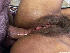 Have a look at this hardcore scene where this slutty Indian babe gets nailed by two big cocks in a threesome that leaves her filled by cum.
