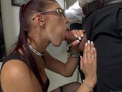 Bespectacled babe Mira Sunset is amazingly sexy in her black nylon stockings and red shoes. She sucks his dick with wild passion and then teases man with her perfectly shaped butt.
