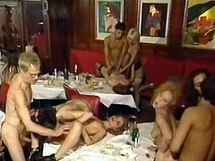 Vintage orgy with slender Dolly Golden