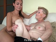 This mature woman shows her rubber friend to awesome sexy babe. Then they kiss each other's tits and play with this dildo in steamy Old Nanny xxx video!