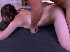 Insatiable sandy haired torrid Japanese tootsie with small ugly boobs got her loose kitty energetically and painfully doggy way muffbusted. Take a look at this hot Asian gal in Jav HD porn clip!