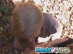 French GF's brings you a hell of a free porn video where you can see how a lovely french gf gives her man a hot blowjob in the forest while assuming very interesting poses.