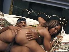Long haired rapacious strumpet with nice boobs rested on hot blooded penis of her black BF in reverse cowgirl style and rided it passionately. Watch this insatiable ebony hooker in Fame Digital sex video!