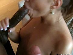 Light head spoiled wench with incredibly attractive button got her dirty wide mouth passionately invaded by one big black sausage and one white long creams tick as well. Enjoy this dirty MMF fuck in Fame Digital sex clip!