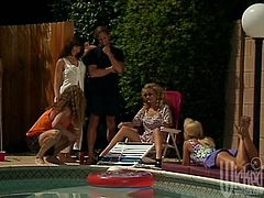 Nina Hartley, Rebecca and Summer! Groupsex at the Pool! Oral and Doggy and Cougars!