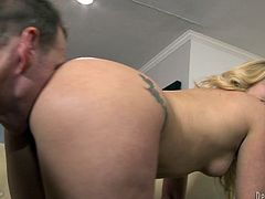 AJ Applegate is a gorgeous blonde with the most amazing ass you'll ever see a blonde babe have. Watch this hottie end up with a mouthful of cum after being fucked by a big cock.