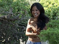 Just look at this steaming and sizzling one Kaylani Lei! She is going to get that thick cock right in her wet Asian pussy!