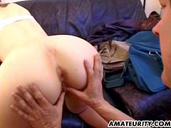 This cute amateur babe loves to fuck. She was up for just about anything so her boyfriend drove his big dick into her tight little ass.