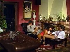 This horny big titties bitch rested on edge of table. One throbbing penis invaded her tight booty hole and the other one poked her dirty mouth from the other side. Watch this awesome 3some in The Classic Porn sex clip!