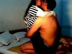 Fat Indian dude feels up his girl all over. The couple kisses passionately while stripping and pleasing each other. Then, kinky dude tit fucks amateur girl.