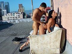 Have a blast watching these couple going hardcore outdoors. Take a special look at this long haired brunette while she gets drilled doggystyle!