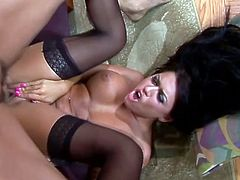 Eva Angelina is Dark and Sexy! This big Tittied Beauty in Stockings gets Railed!
