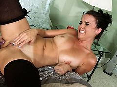 Teen nanny got seduced by kinky married couple. They fuck her hard in FFM threesome. Horny landlord bangs tight pussy of sultry nanny in sideways position. Then he fucks his wife doggy style.
