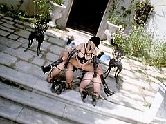 Emily Jewel, Jenna Jameson and Sterling wearing sexy latex costumes are having fun outdoors. They explore each other's shaved cunts and then drill them with a strapon.