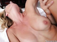 Adorably sexy slut Brenda James plays with her clit as she gets her hole pounded by Johnny Castle
