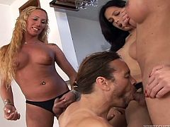 Have fun with this hot scene where these horny trannies have a great time giving this fella a gangbang that leaves him exhausted.