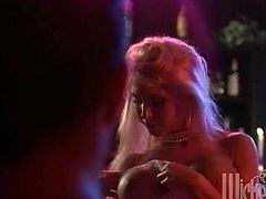 Blonde stripper has sex in the backstage after a performance. Some guy comes to her. He licks her vagina and then fucks the girl hard.