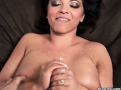 Halie James with gigantic tits is in need of sexual pleasure after handjob