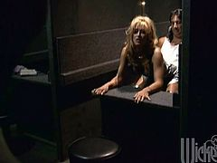 Jill is backstage changing and getting ready when this guy shows up. They are both so horny they fuck right there in the dressing room.