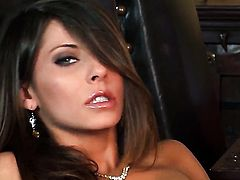 Madison Ivy with big boobs and trimmed cunt spends time playing with herself