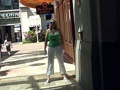 This reality video has a hot solo model who is having some fun out in public