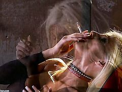 Blonde Gitta Blond does striptease before she masturbates with passion