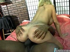 This boobalicious blonde has a huge sexual appetite for black studs and their big cocks. She sucks her lover's massive pecker with great enthusiasm. Then she spreads her legs wide to let her lover fuck her tight pink pussy in missionary position.