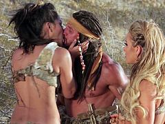 Have fun watching this parody video where two gorgeous cave-babes, with natural boobs wearing sexy outfits, while they have an incredible threesome.