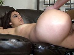 Take a look at this rough hardcore scene where the sexy brunette Nikki Chase is fucked silly by this guy's hard cock as you hear her moan.