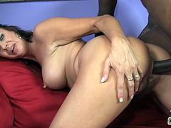 She is so hungry about his huge black cock that she swallows it deep! Then Vanessa Videl spreads her legs to be dicked!