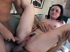 Elizabeth Lawrence gets gang banged by three huge cocks in all her holes. She knows what she wants and she's greedy enought to take them all including this huge toy.
