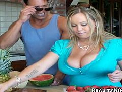 Curvaceous blonde chick gets her melons licked. After that she gives blowjob & titjob combo standing on her knees. Of course Brandy also gets banged in her shaved pussy.