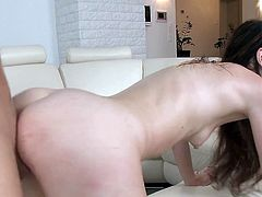 Screaming beauty loves feeling huge dick drilling her deep and rough