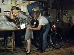 Fuck thirsting dawg gave ride to light haired gorgeous wench. His buddy touched her big hot booty while riding and he wanted her right now. She didn't resist. They stopped in garage and she gave him sweet cock suck. Look at this bike ride in The Classic Porn sex clip!