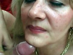 Nasty mature goes wild along her step son during a hot hardcore porn show