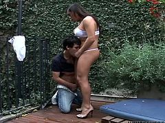 Filthy shemale bitch with abig boopies and cock gets induced by the guy. He sucks her dick. Watch at this bustard in Fame Digital xxx video.