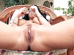 Laura Lion with gigantic jugs and clean cunt does striptease before she masturbates with passion