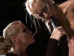 Blonde temptress Kathia Nobili doing dirty things with Nikky Thorne in lesbian action
