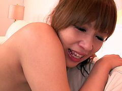 Dark haired Japanese cutie Rinka Aiuchi looks super sexy in her tight black stockings. Nasty dude finger fucks her hairy cunt and eats her pink asshole in doggy pose.