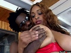 Sex-starved bimbo in fishnet stockings is a gorgeous, very sexually charged nympho who loves to fuck. She rides her boyfriend's cock in reverse cowgirl position. Damn, this chick is unstoppable.