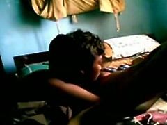Thirsty desi licks wet pussy actively. Then he enters throbbing pussy in a missionary position pounding intensively. Later on sexy Indian girl gives head to her lover.