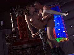 Captivating brunette Chanel Preston is getting naughty with some dude indoors. They kiss and fondle each other and then the stud licks Chanel's pussy and drills it hard.