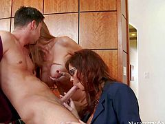 Darla Crane and Syren De Mer are sex hungry milfs that have a crush on new guy Seth Gamble. These hot milfs team up and give him some pleasure. They get nude then suck and ride his cock at the office.