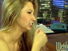 Perfectly shaped blonde babe shows her hot boobs while taking a shower. Then this bombshell comes up to a guy and gives him an unforgettable blowjob.
