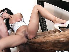 Claudia Rossi getting down and dirty in sex action with horny man