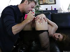 Rocco Siffredi shows nice anal tricks to Milla Yul with the help of his erect love wand