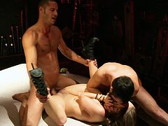 Sizzling blonde milf Gracie Glam is having fun with two studs. She sucks their boners ardently and then gets her snatch drilled in missionary and other positions.