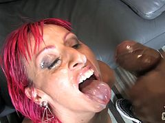 These cocks are super human! They make this slut gag on their meat, then fuck her wide open! Those fake tits keep bouncing around while they milk their spunk right out of them into her face!