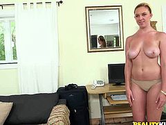 This naughty blondie has curves in all the right places. She has a nice pair of big tits and a round butt. Boobalicious gal climbs on top of her lover's face and lets him get a taste of her delicious pussy.