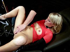 Make sure you take a look at this hot scene where the horny blonde Casey Cumz is fucked by a machine as you hear her moan.